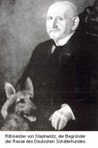 Max Von Stephanitz with a german shepherd dog he bred